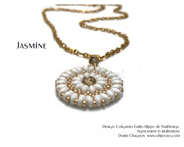 "Pendentif ""Jasmine"" en blanc et or"