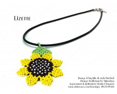 """Pendentif """"Lizette"""" en jaune de style Huichol"""